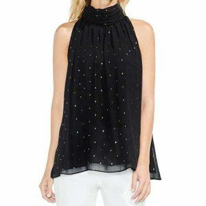 Vince Camuto Black Gold Diamond Chiffon Top sz 2X